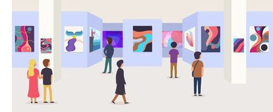 Gallery modern art with visitors. Abstract paintings hanging on wall in exhibition or museum room. Illustration vector illustration