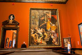 Gallery of the museum with the old paintings Stock Photography