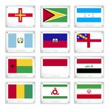 Gallery of National Flags on Metal Texture Plates Royalty Free Stock Photo