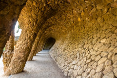 A gallery in the Park Guell - Barcelona. Spain royalty free stock photo
