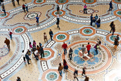 Gallery pavement  in Milan. MILAN, ITALY - MAY 2: Unique view of Galleria Vittorio Emanuele II seen from above in Milan on May 2, 2012. Built in 1875 this Stock Images
