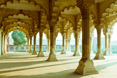 Gallery of pillars at Agra Fort Stock Image