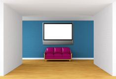 Gallery with purple couch and flat TV Royalty Free Stock Photos