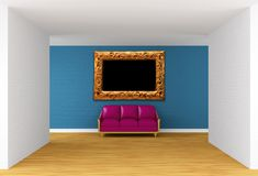 Gallery with purple couch and ornate frame Royalty Free Stock Photos