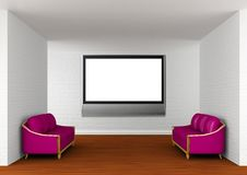 Gallery with purple couches and lcd TV Royalty Free Stock Photography