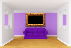 Gallery with purple sofa Stock Images