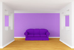 Gallery with purple sofa Stock Photography