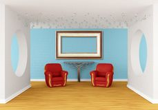 Gallery with red chairs and  table Royalty Free Stock Image