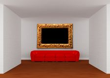 Gallery with red sofa Royalty Free Stock Photography