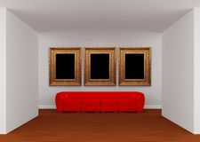 Gallery with red sofa and ornate frames Royalty Free Stock Photography