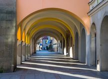 Gallery on renaissance street in old town in Tarnow, Poland. At sunny day Stock Photos