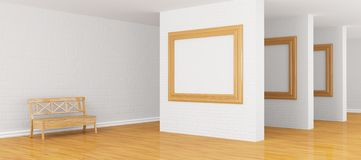 Gallery's hall with bench Royalty Free Stock Photos