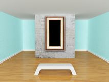 Gallery's hall with bench Royalty Free Stock Photo