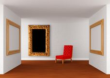 Gallery's hall with chair Royalty Free Stock Photos