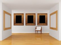 Gallery's hall with chair Royalty Free Stock Photography