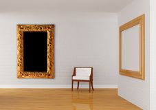 Gallery's hall with chair Royalty Free Stock Images