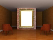 Gallery's hall with ornate frame Royalty Free Stock Photography