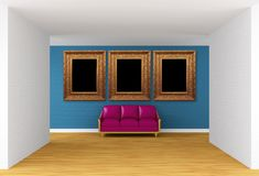 Gallery's hall with purple couch Royalty Free Stock Photography