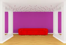 Gallery's hall with red divan Royalty Free Stock Photography