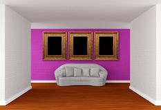 Gallery's hall with white sofa Stock Images