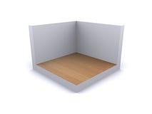 Gallery showroom. 3d rendered room with wood floor Stock Image