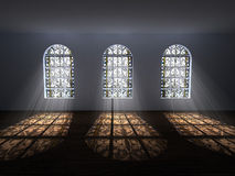 Gallery with stained windows Royalty Free Stock Image