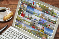 Gallery of stand up paddling pictures. From Colorado featuring the same senior male model - reviewing and editing images on a laptop with a cup of coffee Stock Photography
