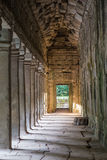 Gallery in Ta Prohm temple, part of the Angkor Wat  complex Royalty Free Stock Image