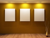 Gallery. Three blanks on a wall and decorative Royalty Free Stock Image
