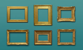 Gallery Wall with Gold Frames. Gold antique frames on green wall