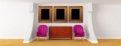 Gallery With Chairs And Bureau Royalty Free Stock Image
