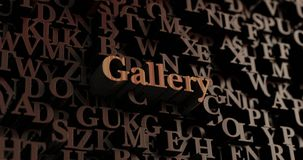 Gallery - Wooden 3D rendered letters/message,  Can be used for an online banner ad or a print postcard, Royalty Free Stock Image
