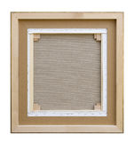 Gallery wrapped blank back view canvas in wooden frame construct royalty free stock photos