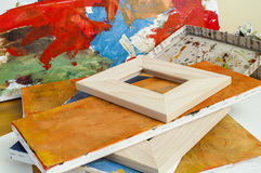 Gallery wrapped used canvas on wooden frame detail - stretcher bar frames Royalty Free Stock Image