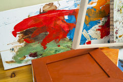 Gallery wrapped used canvas on wooden frame detail - stretcher bar frames Stock Images