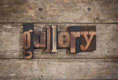 Gallery written with letterpress type Royalty Free Stock Image