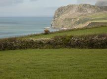 Galles, Regno Unito - prati verdi, mari blu e le colline fotografia stock libera da diritti