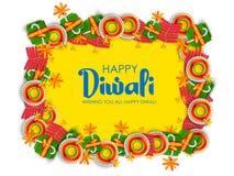 Galleta colorida del fuego en el fondo feliz de Diwali para el festival ligero de la India ilustración del vector