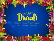 Galleta colorida del fuego en el fondo feliz de Diwali para el festival ligero de la India libre illustration