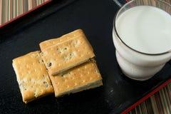 Galleta con el vidrio de leche en una placa Fotos de archivo libres de regalías
