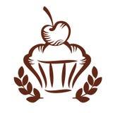 Galleta con la cereza en logotipo superior Imágenes de archivo libres de regalías