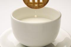 Galleta con una taza de leche Imagenes de archivo