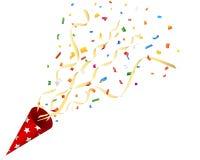 Galleta de estallido del partido con confeti y flámula en el fondo blanco Imagen de archivo