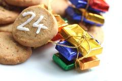 Galleta de la Navidad el 24 de diciembre Fotografía de archivo