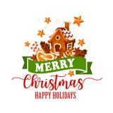 Galleta de la Navidad, icono del bastón de caramelo para el diseño de Navidad libre illustration