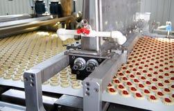 Galleta de la producción en fábrica imagenes de archivo