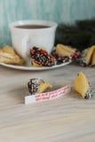 Galleta de la suerte adornada con el chocolate Fotografía de archivo