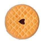 Galleta del bocadillo de la nata de la vainilla con el atasco, aislado en un fondo blanco La galleta dulce, hecha en casa Product imágenes de archivo libres de regalías