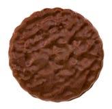 Galleta del chocolate aislada en el cierre blanco del fondo para arriba imágenes de archivo libres de regalías