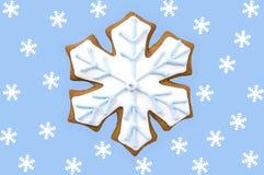 Galleta del copo de nieve del pan de jengibre Foto de archivo libre de regalías